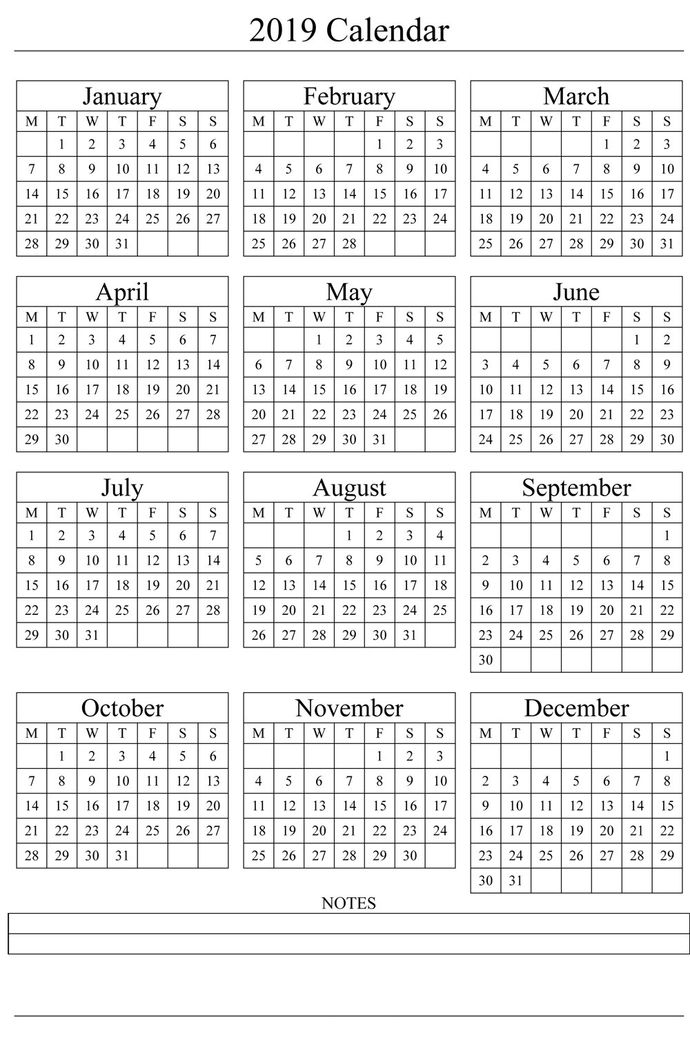 2019 Printable Calendar Templates [Free]