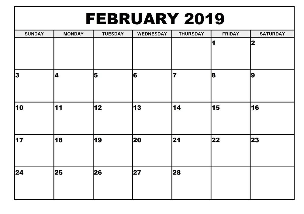 february 2019 calendar free february 2019 calendar printable