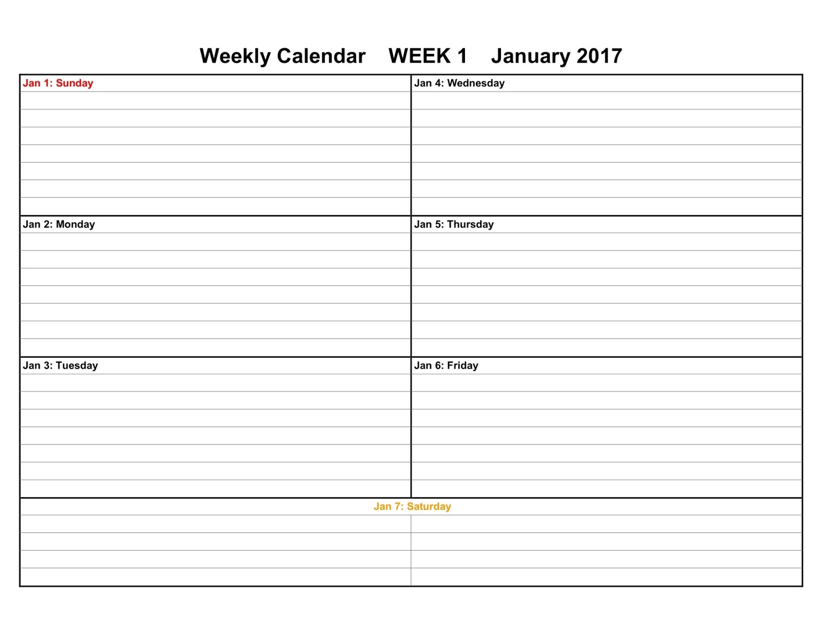 2017 weekly calendar templates