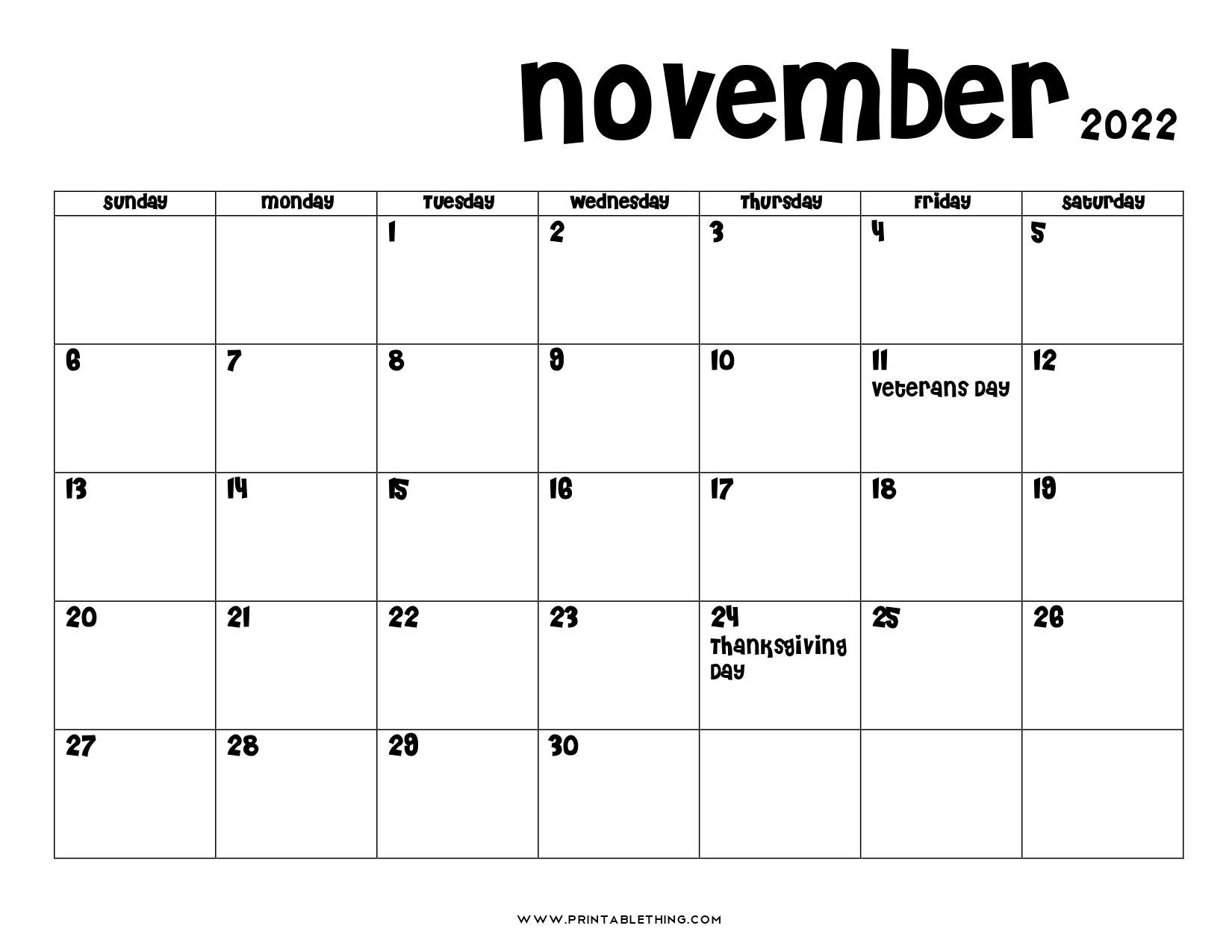 20+ November 2022 Calendar Printable, US Holidays, Blank ...